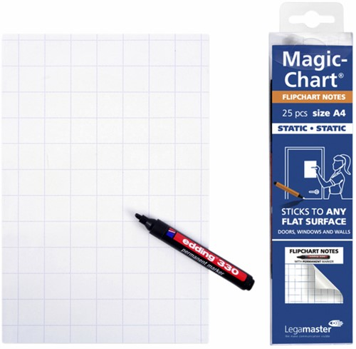 MAGIC-CHART NOTES LEGAMASTER FLIPCHART 20X30CM WIT 25 Vel