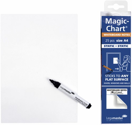 MAGIC-CHART NOTES LEGAMASTER WHITEBOARD 20X30CM WIT 25 Vel