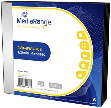 DVD+RW MEDIARANGE 4.7GB 4X SPEED SLIMCASE PACK 5 1 Stuk