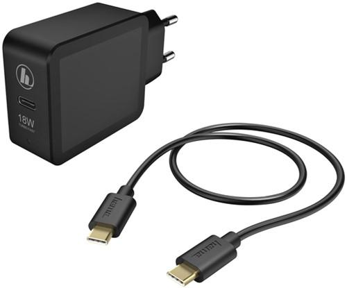 OPLADER HAMA USB-C 18W 1.5 METER ZWART