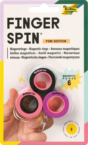 Magneet Vinger spinner Folia roze editie 3 Stuk