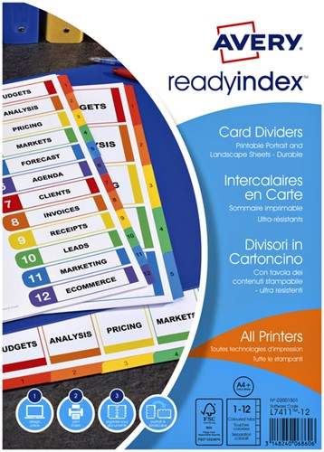 TABBLADEN AVERY READYINDEX A4 9R 12DLG 1 Set