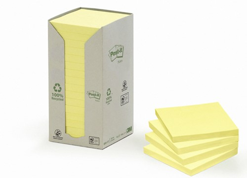 MEMOBLOK 3M POST-IT 654 76X76MM RECYCLE GEEL 16 Stuk