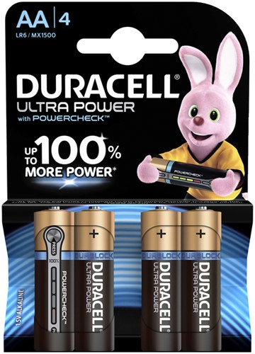 BATTERIJ DURACELL AA ULTRA POWER MX1500 ALKALINE 4 STUK