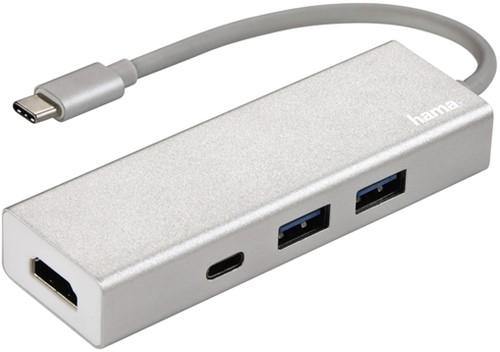 HUB HAMA USB-C 3.1 1:3 2 X USB-A 1 X USB-C HDMI ALU 1 Stuk