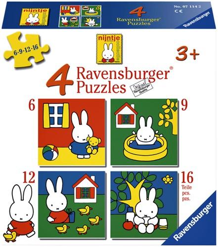 PUZZEL RAVENSBURGER NIJNTJE 4XPUZZELS 6+9+12+16ST 1 STUK
