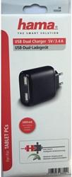 OPLADER HAMA DUAL 5V USB ZWART 1 STUK