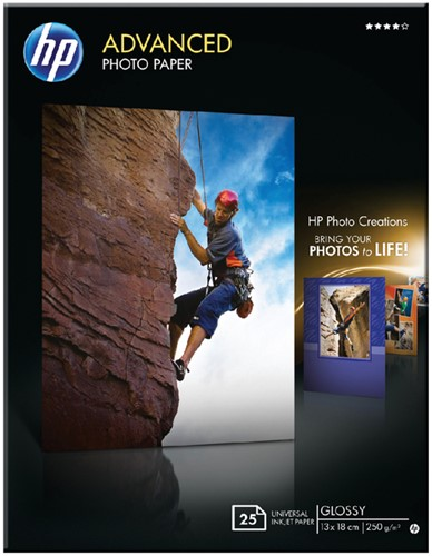 FOTOPAPIER HP Q8696A 13CMX18CM 250GR GLANS 25 Vel