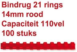 BINDRUG FELLOWES 14MM 21RINGS A4 ROOD 100 STUK