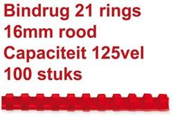 BINDRUG FELLOWES 16MM 21RINGS A4 ROOD 100 STUK