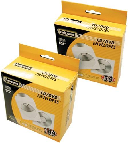CD HOES FELLOWES MET KLEP WIT 50 Stuk