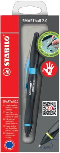BALPEN STABILO SMARTBALL 2.0 RECHTS ZWART/CYAAN 1 Stuk