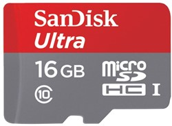 GEHEUGENKAART SANDISK MICRO SDHC ANDROID 16GB CL10 1 STUK