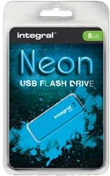 USB-STICK INTEGRAL 8GB NEON 2.0 BLAUW 1 STUK