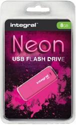 USB-STICK INTEGRAL 8GB 2.0 NEON ROZE 1 STUK