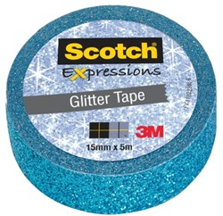 PLAKBAND 3M SCOTCH EXPRESSIONS GLITTER BLUE 1 STUK