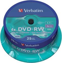 DVD-RW VERBATIM 4.7GB 4X 25PK SPINDEL 25 STUK