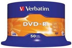 DVD-R VERBATIM 4.7GB 16X 50PK SPINDEL 50 STUK