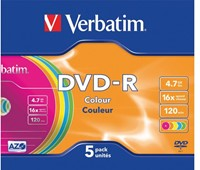 DVD-R VERBATIM 4.7GB 16X COLOUR 5PK SLIMLINE JC 5 STUK-1