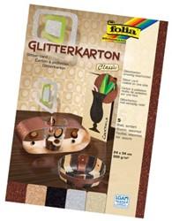 GLITTERKARTON FOLIA CLASSIC 24X24CM 300G ASS 5 STUK