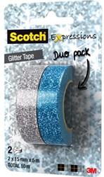 PLAKBAND 3M SCOTCH EXPRESSIONS GLITTER DUOPACK SILVER BLUE 2 ROL