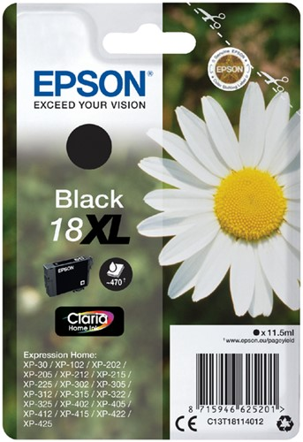 INKCARTRIDGE EPSON 18XL T1811 ZWART 1 Stuk