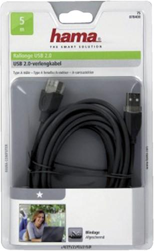 KABEL HAMA USB 2.0 A-A VERLENG 5M GRIJS 1 STUK-2