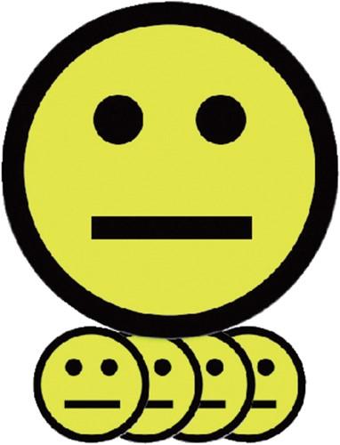 MAGNEET SMILEY 5CM EMOTIE NEUTRAAL GEEL 5 Stuk