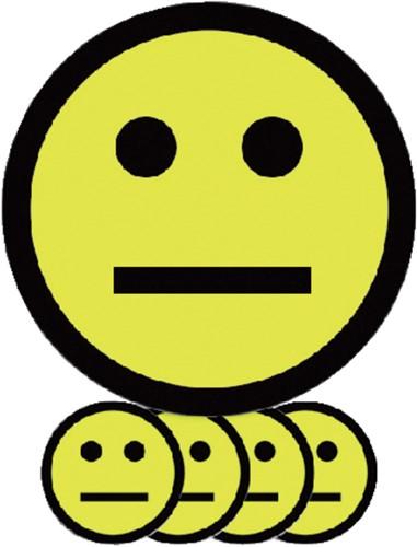 MAGNEET SMILEY 7.5CM EMOTIE NEUTRAAL GEEL 5 Stuk