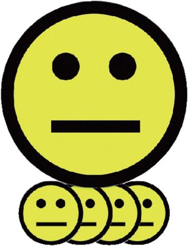 MAGNEET SMILEY 2.5CM EMOTIE NEUTRAAL GEEL 5 Stuk