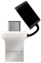 USB-STICK INTEGRAL FD 64GB 3.0 TYPE C ZILVER 1 STUK