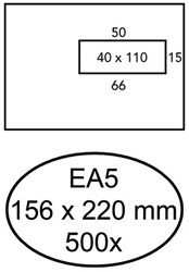 ENVELOP HERMES VENSTER EA5 VR 4X11 80GR 500ST WIT 500 STUK