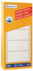 ETIKET AVERY ZWECK 3617 101.6X48.4MM 1BAANS 2000ST 1 DOOS