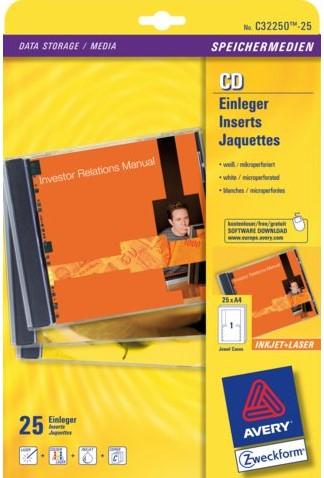 CD INLEGKAART AVERY ZWECK C32250-25 151X118MM 25ST 25 VEL-2
