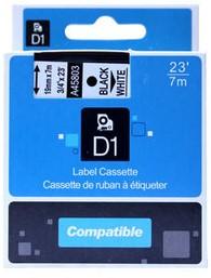 COMPATIBLE LABELTAPE  45803 19MMX7M D1 WIT/ZWART 1 STUK