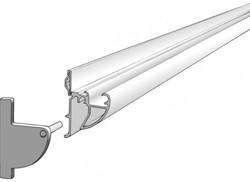 Designrail 240cm. wit voor whiteboard